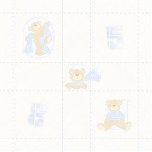 Papel Pesponto e Ursos Azul Claro Urso Xadrez