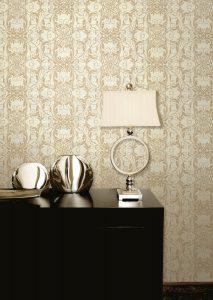 Papel de parede com ornamentos em brilho