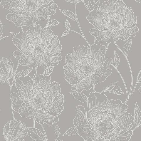Papel de Parede Floral Cinza 3803