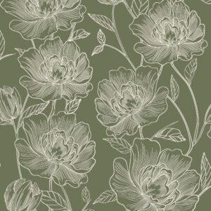 Papel de Parede Floral Verde 3800