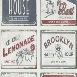 Papel de parede vintage quadros city 6365-06