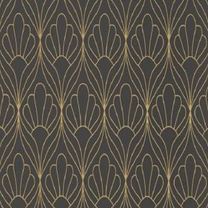 Papel de parede conchas preto dourado 6389-15