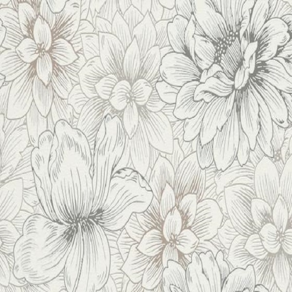 Papel de parede florido branco 5425-02