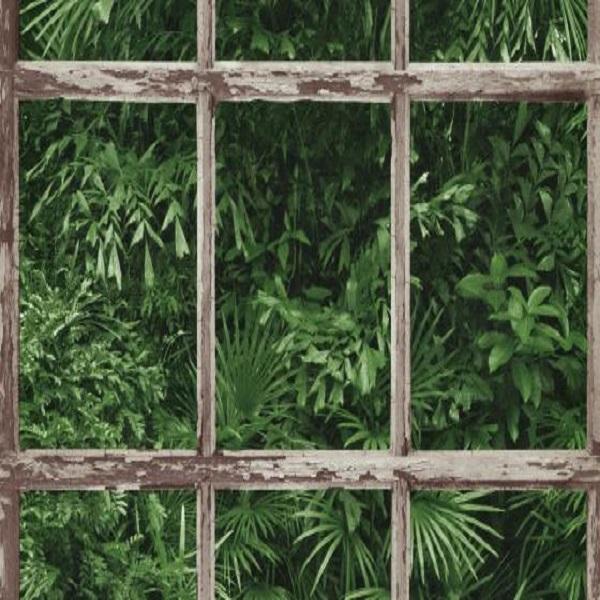 Papel de parede janela folhas 6373-07