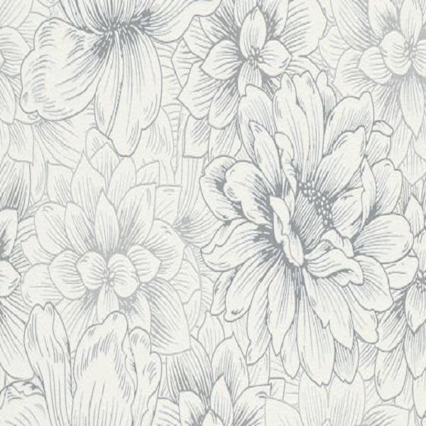 papel de parede florido cinza branco 5425-10